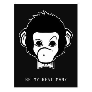 Cartão Postal você será meu bestman? macaco do senhor