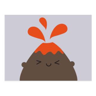 Cartão Postal Vulcão feliz de Kawaii