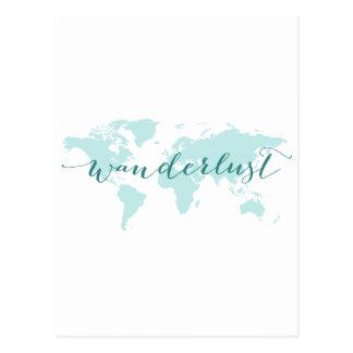 Cartão Postal Wanderlust, desejo viajar, mapa do mundo da
