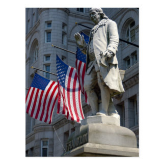 Cartão Postal Washington, C.C., estátua de Benjamin Franklin