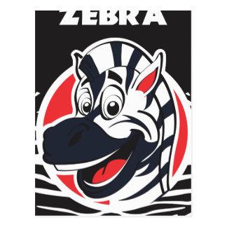 Cartão Postal Zebras bonitos engraçadas