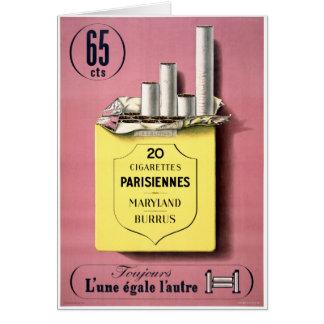 Cartão Poster vintage francês dos cigarros restaurado