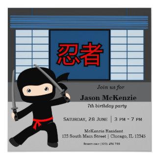 Cartão Pouco tema do aniversário do ninja