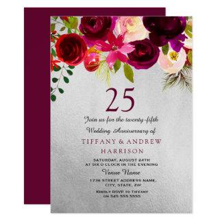 Cartão Prata & aniversário de casamento floral de