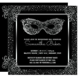 Cartão Prata do doce dezesseis do partido | do mascarada