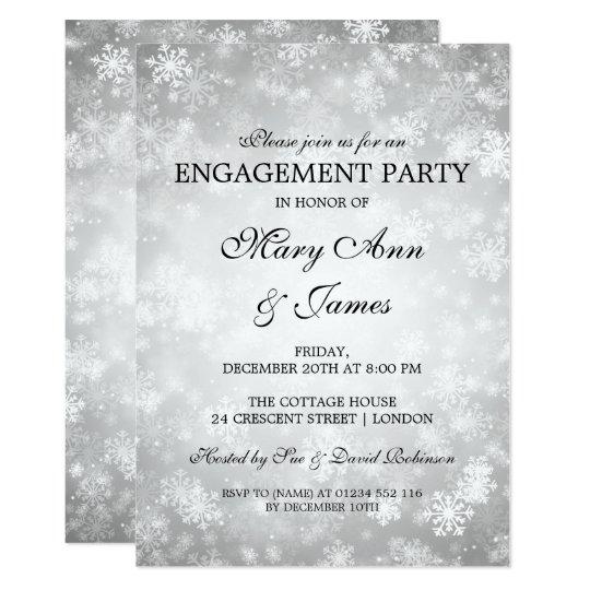 Cartão Prata elegante da festa de noivado do país das