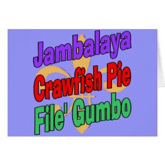 Cartão Prato de Cajun da torta dos lagostins do Jambalaya