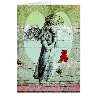 Cartão Praying do anjo com coração