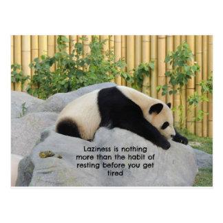 Cartão preguiçoso bonito da panda do dia