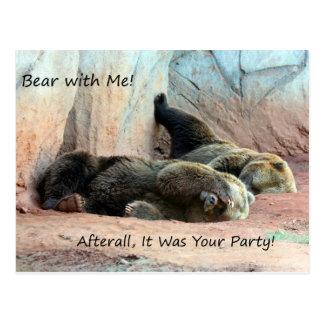 Cartão preguiçoso dos ursos cartão postal