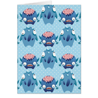 Cartão Presentes azuis loucos das criaturas do