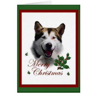 Cartão Presentes do Natal do Malamute do Alasca