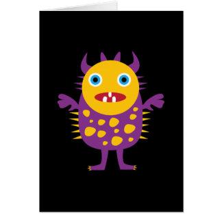 Cartão Presentes roxos amarelos da criatura do monstro do