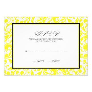 Cartão preto amarelo da resposta do casamento tema convite personalizado