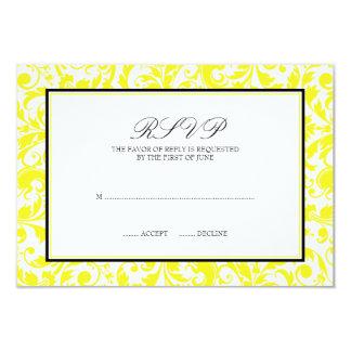 Cartão preto amarelo da resposta do casamento tema convite 8.89 x 12.7cm
