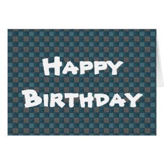 Cartão preto azul escuro do feliz aniversario da