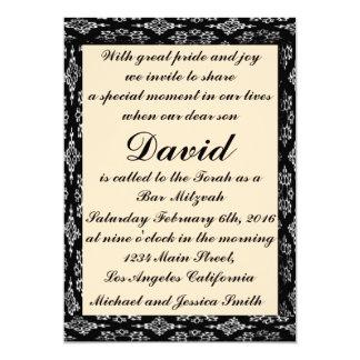 Cartão Preto/bar Mitzvah do creme/convite do aniversário