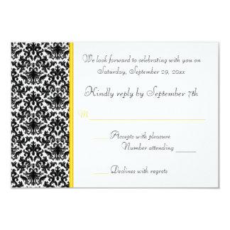 Cartão preto, branco, amarelo do damasco RSVP Convite 8.89 X 12.7cm