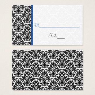 Cartão preto, branco, azul do lugar do casamento