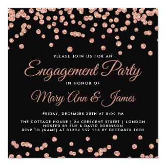 Cartão Preto cor-de-rosa dos confetes do brilho do ouro