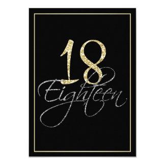 Cartão Preto de prata formal e festa de aniversário do
