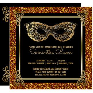 Cartão Preto do ouro do doce dezesseis do mascarada | do