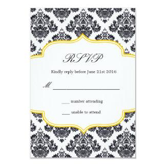 Cartão preto e amarelo da resposta do casamento convite