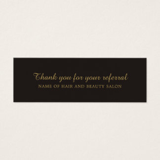 Cartão preto elegante da referência do salão de