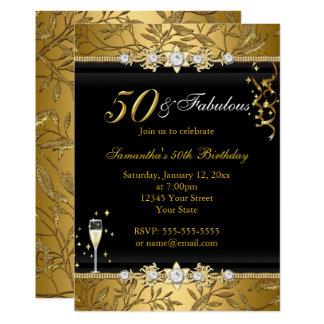 Cartão Preto fabuloso do aniversário da folha 50 da jóia