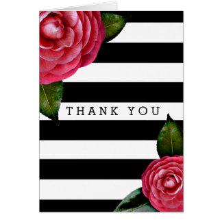 Cartão Preto floral dos rosas cor-de-rosa + Obrigado
