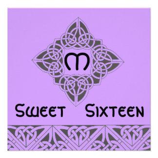 Cartão preto roxo celta do convite do doce dezesse