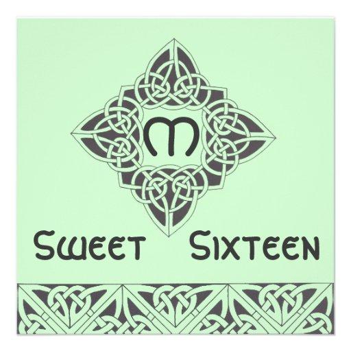 Cartão preto verde celta do convite do doce dezess