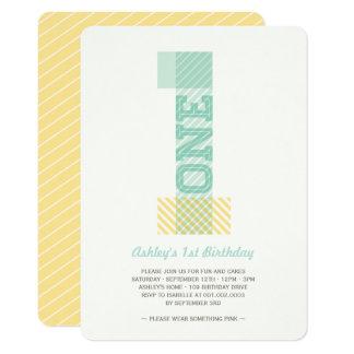 Cartão Primeiro aniversario grande do ponto morto do bebê