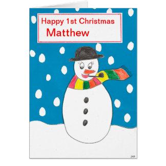 Cartão Primeiro Natal feliz Matthew