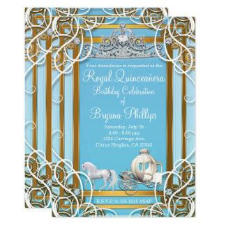 Cartão Princesa azul Coroa & carruagem Quinceañera do