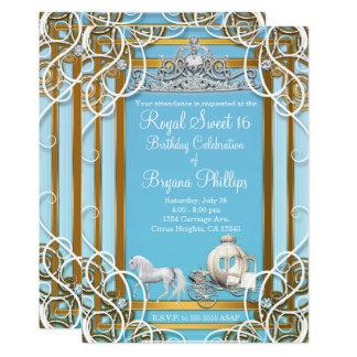Cartão Princesa azul Coroa do ouro & partido do doce 16