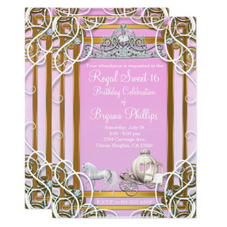 Cartão Princesa cor-de-rosa Coroa do ouro & partido do