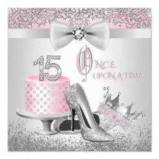 Cartão Princesa cor-de-rosa e de prata Quinceanera