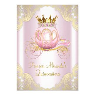 Cartão Princesa cor-de-rosa Quinceanera do ouro de