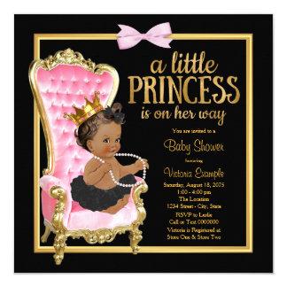 Cartão Princesa étnica chá de fraldas da cadeira preta