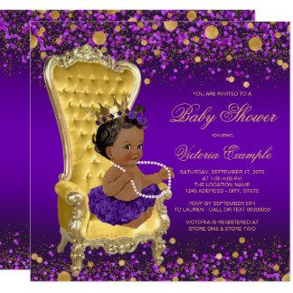 Cartão Princesa étnica chá de fraldas da cadeira roxa do