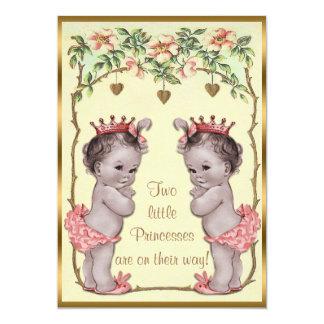 Cartão Princesa Gêmeo Rosa do vintage & chá de fraldas