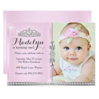Cartão Princesa pequena Primeiro Aniversário Cor-de-rosa