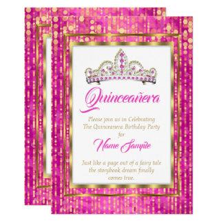 Cartão Princesa régia Cor-de-rosa Quinceanera Ouro Branco