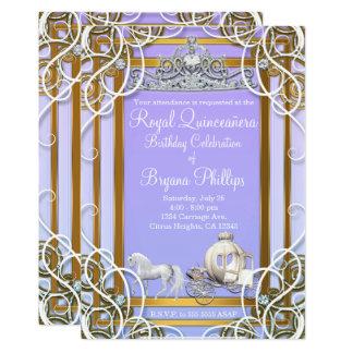 Cartão Princesa roxa Coroa & carruagem Quinceañera do