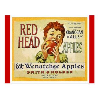 Cartão principais vermelhos das maçãs de