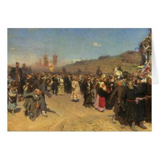 Cartão Procissão religiosa na província de Kursk