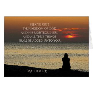 Cartão Procure o primeiro reino de deus, Matthew 6, por