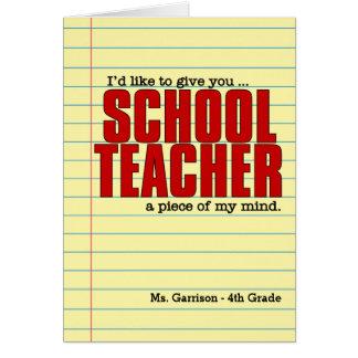Cartão Professor primário engraçado com papel alinhado