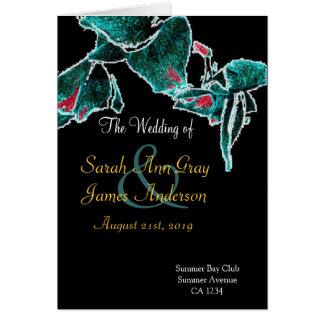 Cartão Programa preto exótico do casamento das orquídeas